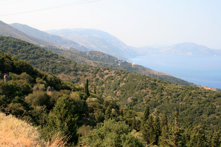 cefallonia: ASSOS, KEFALONIA, GREECE - SEPTEMBER 8, 2012: Amazing panorama of Assos village, Kefalonia, Ionian islands, Greece
