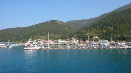 cefallonia: SAMI, KEFALONIA, GREECE - SEPTEMBER 8, 2012: Amazing view of town of Sami, Kefalonia, Ionian islands, Greece