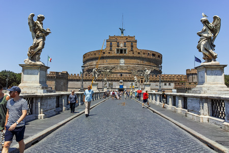 tiber: ROME, ITALY - JUNE 22, 2017: Amazing view of St. Angelo Bridge and castle st. Angelo in city of Rome, Italy