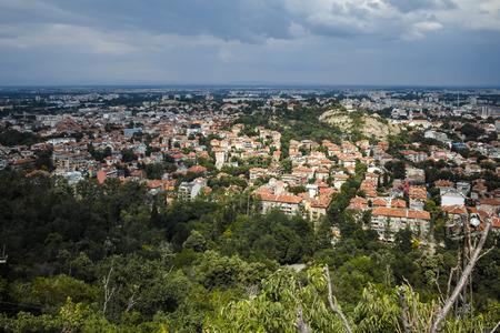 balkans: PLOVDIV, BULGARIA JUNE 11, 2017: Amazing Panoramic view of city of Plovdiv from Bunardzhik tepe hill (hill of libertadors), Bulgaria