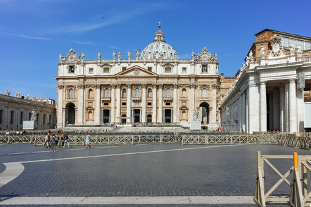 ROME, ITALY - JUNE 23, 2017: Amazing view of Saint Peters Square and St. Peters Basilica in Rome, Italy