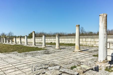 Ruins of The Great Basilica near The capital city of the First  Bulgarian Empire Pliska, Bulgaria Stock Photo