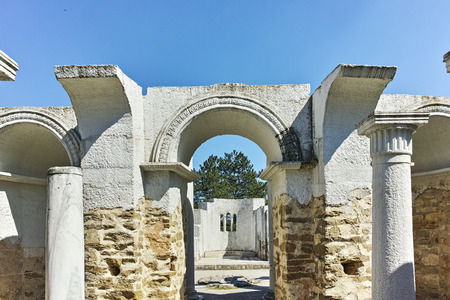 Ruins of Round Church  of St. John near The capital city of the First  Bulgarian Empire  Great Preslav, Bulgaria Stock Photo