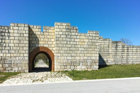Ruins of The capital city of the First  Bulgarian Empire Fortress Pliska, Shumen Region, Bulgaria Stock Photo