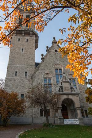 ZURICH, SWITZERLAND - 28 OCTOBER 2015 : Autumn Landscape of St. Jacob church, Zurich, Switzerland Editorial