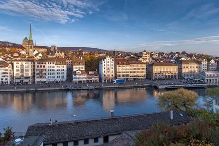 ZURICH, SWITZERLAND - 28 OCTOBER 2015 : Amazing panorama of City of Zurich in Limmat River, Switzerland
