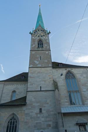 ZURICH, SWITZERLAND - 28 OCTOBER 2015 : Amazing view of Fraumunster Church, city of Zurich, Switzerland