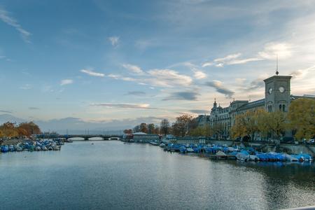 ZURICH, SWITZERLAND - 28 OCTOBER 2015 : Sunset Panoramic view of Limmar River and City of Zurich, Switzerland