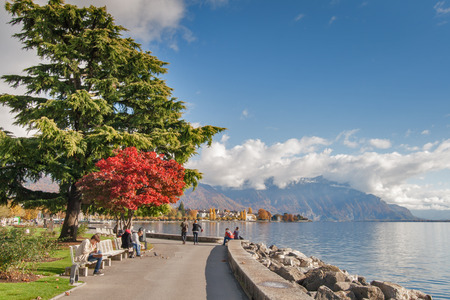 vevey: VEVEY, SWITZERLAND - 29 OCTOBER 2015 : Landscape of Embankment in Vevey, canton of Vaud, Switzerland