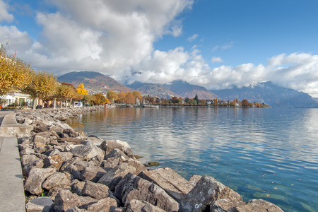 VEVEY, SWITZERLAND - 29 OCTOBER 2015 : Landscape of Embankment in Vevey, canton of Vaud, Switzerland