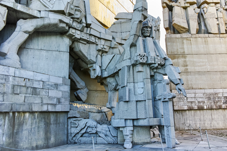 founders: SHUMEN, BULGARIA - APRIL 10, 2017:   Founders of the Bulgarian State Monument near Town of Shumen, BulgariaSHUMEN, BULGARIA - APRIL 10, 2017:   Founders of the Bulgarian State Monument near Town of Shumen, Bulgaria