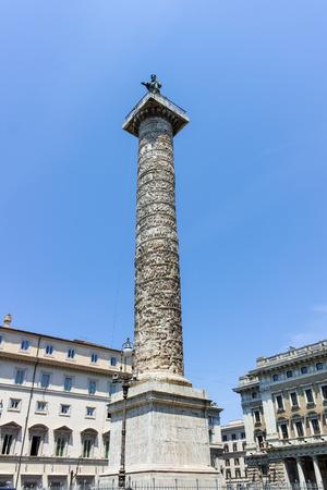 ROME, ITALY - JUNE 23, 2017: Amazing view of Marcus Aurelius Column in city of Rome, Italy Editorial