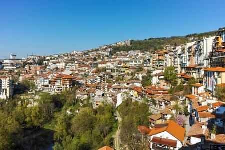 VELIKO TARNOVO, BULGARIA - 9 APRIL 2017: Panoramamic view of city of Veliko Tarnovo, Bulgaria