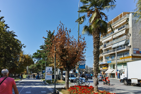 ALEXANDROUPOLI, GREECE - SEPTEMBER 23, 2017:  Typical street in town of Alexandroupoli, East Macedonia and Thrace, Greece
