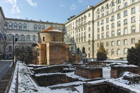 SOFIA, BULGARIA - FEBRUARY 5, 2017:  Winter view of Church St. George Rotunda in Sofia, Bulgaria Editorial