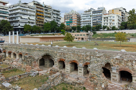 THESSALONIKI, GREECE - SEPTEMBER 30, 2017: Ruins of Roman Forum in the center of city of Thessaloniki, Central Macedonia, Greece Editorial