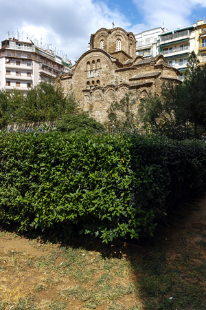 THESSALONIKI, GREECE - SEPTEMBER 30, 2017: Ancient Byzantine Orthodox church of St. Panteleimon in the center of city of Thessaloniki, Central Macedonia, Greece