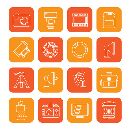 Line photography equipment icons - vector icon set Illustration