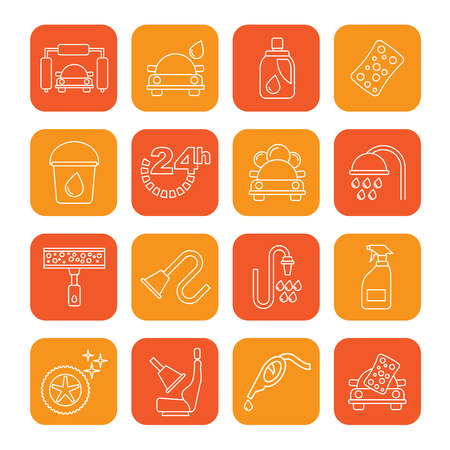 Line car wash objects and icons - vector icon set Illustration
