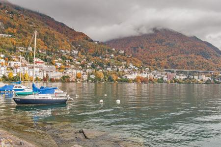 MONTREUX, SWITZERLAND -OCTOBER 29, 2015 : Autumn view of embankment of Montreux and Lake Geneva, canton of Vaud, Switzerland Editorial