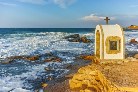 Iconostasis St. Peter and St. Nicholas at coastline of village of Chernomorets, Burgas Region, Bulgaria Stock Photo