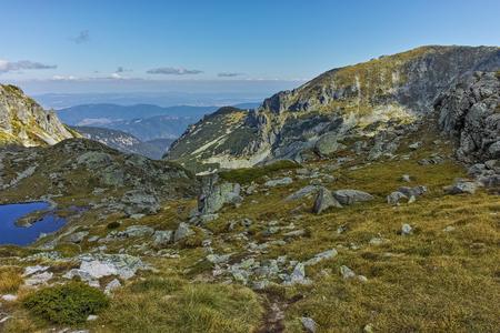 Amazing landscape of Green hills of Rila Mountain, Bulgaria