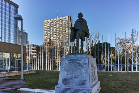 MADRID, SPAIN - JANUARY 21, 2018:  Mahatma Gandhi Memorial at Paseo de la Castellana street in City of Madrid, Spain
