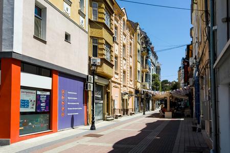 PLOVDIV, BULGARIA - JUNE 10, 2017:  Street in district Kapana, city of Plovdiv, Bulgaria Editorial