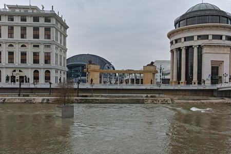 SKOPJE, REPUBLIC OF MACEDONIA - FEBRUARY 24, 2018: River Vardar passing through City of Skopje center, Republic of Macedonia