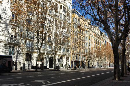 MADRID, SPAIN - JANUARY 21, 2018: Typical Building and street in City of Madrid, Spain