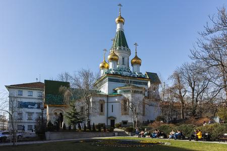 SOFIA, BULGARIA - MARCH 17, 2018: Amazing view of Golden Domes Russian church in Sofia, Bulgaria