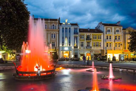 PLOVDIV, BULGARIA - JUNE 9, 2017: Night photo of Walking street in city of Plovdiv, Bulgaria