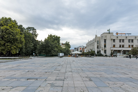 PLOVDIV, BULGARIA - JUNE 9, 2017: Panorama of Knyaz Alexander I street in city of Plovdiv, Bulgaria Editorial