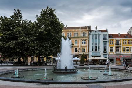 PLOVDIV, BULGARIA - JUNE 9, 2017: Sunset view of Walking street in city of Plovdiv, Bulgaria Editorial