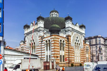 SOFIA, BULGARIA - APRIL 13, 2018: Building of Sofia Synagogue  in city of Sofia, Bulgaria
