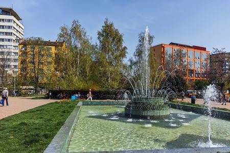 SOFIA, BULGARIA - APRIL 13, 2018:  Garden Central Bath and Banski Square in Sofia, Bulgaria