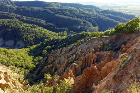 Sunset Landscape of rock formation Stob pyramids, Rila Mountain, Kyustendil region, Bulgaria 스톡 콘텐츠