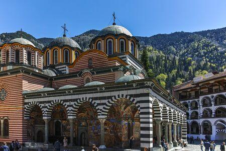 RILA MONASTERY, BULGARIA - APRIL 21, 2018: Medieval Building of Monastery of Saint Ivan (John) of Rila (Rila Monastery), Kyustendil Region, Bulgaria