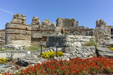 Ruins of Ancient Fortifications at the entrance of old town of Nessebar, Burgas Region, Bulgaria 免版税图像