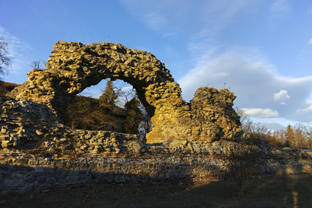 Sunset Panorama of Ruins of fortifications in ancient Roman city of Diocletianopolis, town of Hisarya, Plovdiv Region, Bulgaria