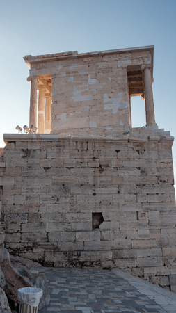 Ruins of Propylaea -monumental gateway in the Acropolis of Athens, Attica, Greece Stock Photo