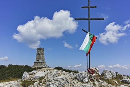 SHIPKA, BULGARIA - JULY 6, 2018:  National Monument to Liberty Shipka and Balkan mountains, Stara Zagora Region, Bulgaria