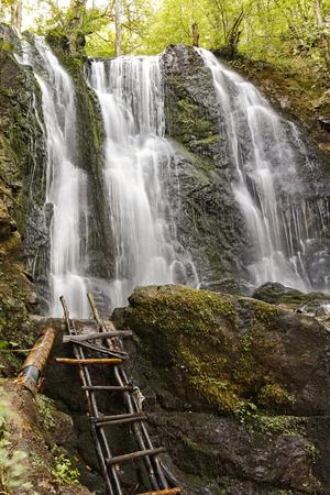 Landscape of Koleshino waterfalls cascade in Belasica Mountain, Novo Selo, Republic of North Macedonia 版權商用圖片