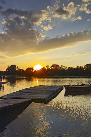 Sunset Panorama of Rowing Venue in city of Plovdiv, Bulgaria 写真素材