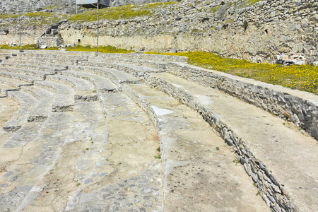 Ruins of The ancient theatre in the Antique city of Philippi, Eastern Macedonia and Thrace, Greece Banque d'images