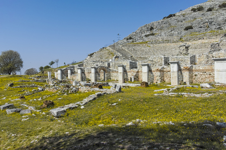 Ruins of The ancient theatre in the Antique city of Philippi, Eastern Macedonia and Thrace, Greece Фото со стока