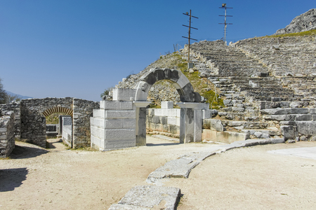 Ruins of The ancient theatre in the Antique city of Philippi, Eastern Macedonia and Thrace, Greece