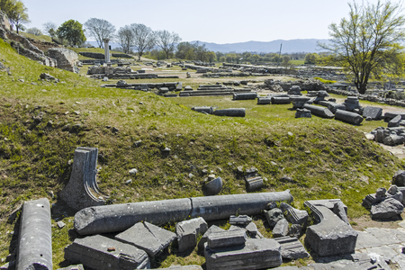 Ruins at archaeological site of Philippi, Eastern Macedonia and Thrace, Greece
