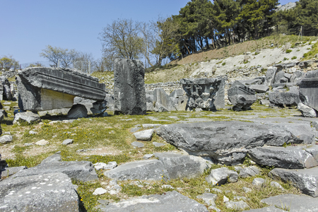 Ancient Ruins at archaeological site of Philippi, Eastern Macedonia and Thrace, Greece