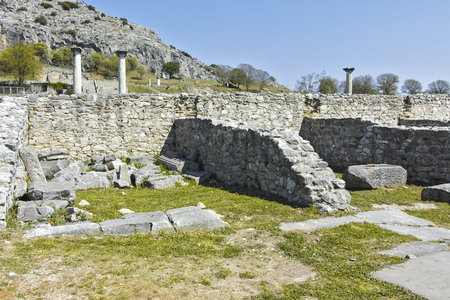 Panorama of Ancient Ruins at archaeological site of Philippi, Eastern Macedonia and Thrace, Greece